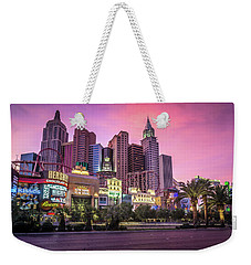 Weekender Tote Bag featuring the photograph New York City Skyline In Las Vegas Nevada by Alex Grichenko