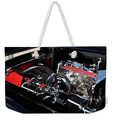 Weekender Tote Bag featuring the photograph 1957 Chevrolet Corvette Engine by Debi Dalio