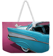 Weekender Tote Bag featuring the photograph Turquoise 1957 Chevrolet Bel Air by Debi Dalio