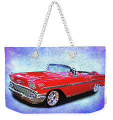 1958 Red Chevy Convertable Weekender Tote Bag