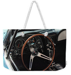 Weekender Tote Bag featuring the photograph 1965 Chevrolet Corvette Convertible - Driver Side by Angie Tirado
