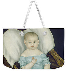 Weekender Tote Bag featuring the painting Baby In Wicker Basket by Joseph Whiting Stock