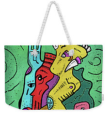 Weekender Tote Bag featuring the digital art Psychedelic Animals by Sotuland Art