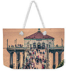 Weekender Tote Bag featuring the photograph Sunset On Huntington Beach California by Alex Grichenko