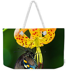 Weekender Tote Bag featuring the photograph Swallowtail On Turks Cap by Donald Brown