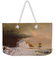 Weekender Tote Bag featuring the painting An Arctic Summer - Boring Through The Pack In Melville Bay by William Bradford