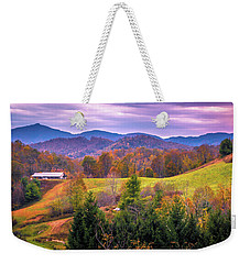 Weekender Tote Bag featuring the photograph Autumn Season And Sunset Over Boone North Carolina Landscapes by Alex Grichenko