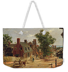 Weekender Tote Bag featuring the painting Old Annapolis, Francis Street by Francis Blackwell Mayer