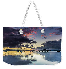 Overcast Morning On The Bay With Boats Weekender Tote Bag