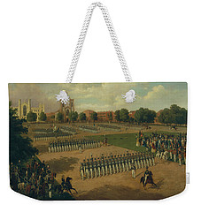 Weekender Tote Bag featuring the painting Seventh Regiment On Review, Washington Square, New York by Otto Boetticher