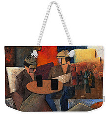Weekender Tote Bag featuring the painting 7073 Two Black Solutions by Val Byrne