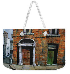 Weekender Tote Bag featuring the painting 775 Decaying Elegance In The Liberties, Dublin by Val Byrne