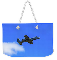 Weekender Tote Bag featuring the photograph A-10c Thunderbolt II In Flight by Doug Camara