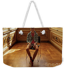 Weekender Tote Bag featuring the photograph A Boy At The Louvre by Craig J Satterlee