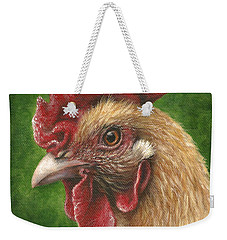 Weekender Tote Bag featuring the painting A Chicken For Terry by Kim Lockman
