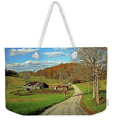 Weekender Tote Bag featuring the photograph A Farm On An Autumn Day by Angela Murdock