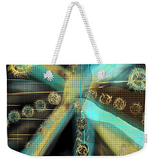 A Light Beams In Gold Brown And Blue Weekender Tote Bag