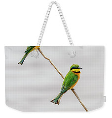 Weekender Tote Bag featuring the photograph A Little Bee Eater Couple by Kay Brewer