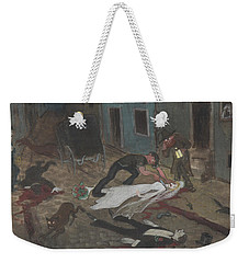 Weekender Tote Bag featuring the drawing A Scary Nighttime Scene by Ivar Arosenius