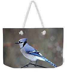 A Snowy Day With Blue Jay Weekender Tote Bag
