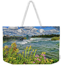 Weekender Tote Bag featuring the photograph A Touch Of Summer In Fall At Niagara Falls, New York by Lynn Bauer