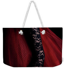 A Woman Wearing A Black Lace Glove Weekender Tote Bag