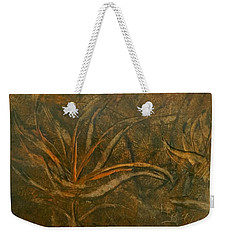 Abstract Brown/orange Floral In Encaustic Weekender Tote Bag