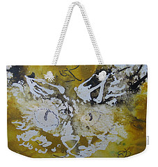 Weekender Tote Bag featuring the drawing Abstract Cat Face Yellows And Browns by AJ Brown