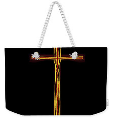 Weekender Tote Bag featuring the digital art Abstract Cross With Halo by James Fannin