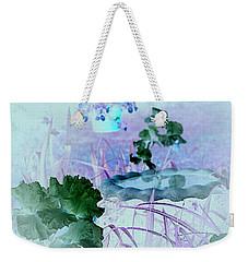 Weekender Tote Bag featuring the digital art Abstract Garden Birdbath by Robert G Kernodle