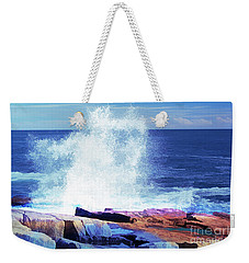 Crashing Waves At Schoodic Point Abstract Weekender Tote Bag