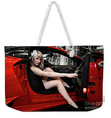 Weekender Tote Bag featuring the photograph Action Red by Brad Allen Fine Art