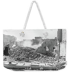 Weekender Tote Bag featuring the photograph After The Collapse by SR Green