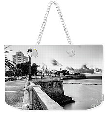 Weekender Tote Bag featuring the photograph Alameda Apodaca Promenade Cadiz Spain Black And White by Pablo Avanzini