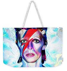 Weekender Tote Bag featuring the digital art Aladdin Sane by Pennie McCracken