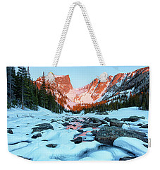 Weekender Tote Bag featuring the photograph Alpenglow At Dream Lake Rocky Mountain National Park by Nathan Bush