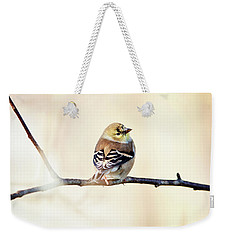 Weekender Tote Bag featuring the photograph American Goldfinch by Sue Collura