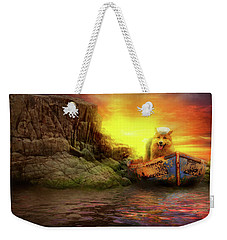 Weekender Tote Bag featuring the photograph Animal - Dog - Up The Creek Without A Pawdle by Mike Savad