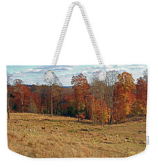 Weekender Tote Bag featuring the photograph Animals Grazing On A Fall Day by Angela Murdock