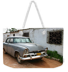 Weekender Tote Bag featuring the photograph Antique Car Grey Cuba 11300501 by Rick Veldman