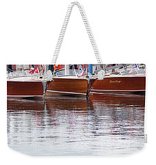 Weekender Tote Bag featuring the photograph Antique Classic Wooden Boats In A Row Panorama 81112p by Rick Veldman