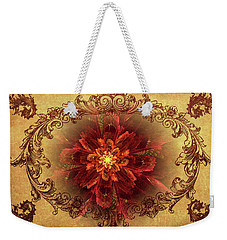 Antique Foral Filigree In Crimson And Gold Weekender Tote Bag