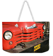 Weekender Tote Bag featuring the photograph Antique Truck Red Cuba 11300502 by Rick Veldman