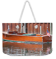 Weekender Tote Bag featuring the photograph Antique Wooden Boat By Dock 1302 by Rick Veldman