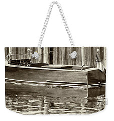Weekender Tote Bag featuring the photograph Antique Wooden Boat By Dock Sepia Tone 1302tn by Rick Veldman