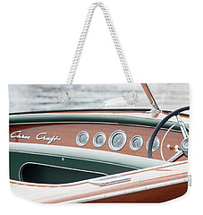 Weekender Tote Bag featuring the photograph Antique Wooden Boat Dashboard 1306 by Rick Veldman