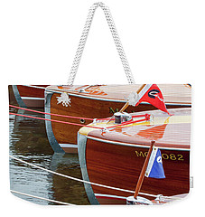 Weekender Tote Bag featuring the photograph Antique Wooden Boats In A Row Portrait 1301 by Rick Veldman