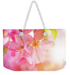 Weekender Tote Bag featuring the photograph Apple Blossoms Bright Glow by Leland D Howard