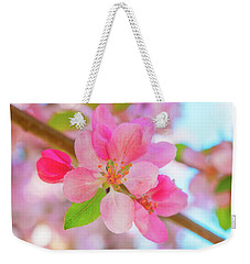 Weekender Tote Bag featuring the photograph Apple Blossoms Red And Blue by Leland D Howard