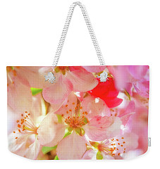 Weekender Tote Bag featuring the photograph Apple Blossoms Textures by Leland D Howard